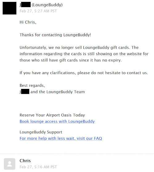 Screenshot of email exchange with Lounge Buddy