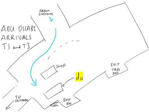 Abu Dhabi airport arrivals map, the SIM card shop is in the Terminal 1 and Terminal 3 arrivals area. Sketched by Chris