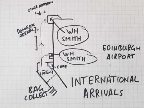 I sketched where to go from Edinburgh Airport International Arrivals