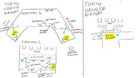 An overview of where SIM cards are located at each terminal of Narita and Haneda. See below for further details. Maps sketched by Chris. Best options are highlighted.