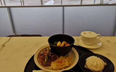 Photo of the food and coffee from a recent visit to the Cathay lounge in Hong Kong