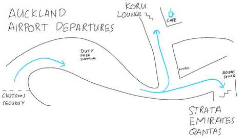 I sketched a map showing where the lounges are at the Auckland airport international terminal.