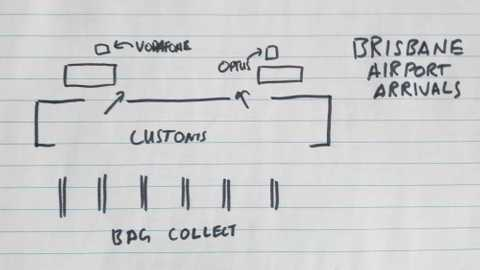 Brisbane airport arrivals sketch, Vodafone and Optus are hidden behind shops